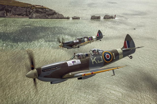 In this Undated handout issued by Boultbee Flight Academy on Sunday April 5, 2015, Prince Harry flys in the back of a Spitfire on a sortie from Goodwood, West Sussex, via the Isle of Wight. (Photo by John M. Dibbs/Boultbee Flight Academy/Getty Images)