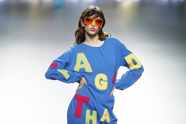 A model presents a creation from Agatha Ruiz de la Prada's Fall/Winter 2016 collection during the Mercedes-Benz Fashion Week in Madrid, Spain, February 19, 2016. (Photo by Susana Vera/Reuters)