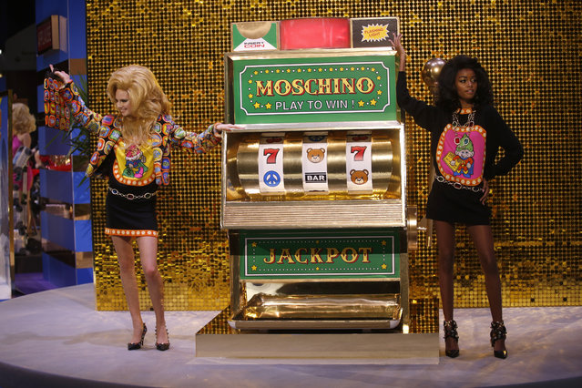 Models wear creations as part of the Moschino women's Fall-Winter 2019-2020 collection, that was presented in Milan, Italy, Thursday, February 21, 2019. (Photo by Antonio Calanni/AP Photo)