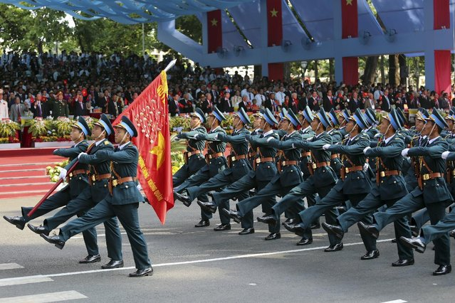 Vietnamese Air Force takes part in a parade celebrating the 40th anniversary of the end of the Vietnam War which is also remembered as the fall of Saigon, in Ho Chi Minh City, Vietnam, Thursday, April 30, 2015. (Photo by Na Son Nguyen/AP Photo)