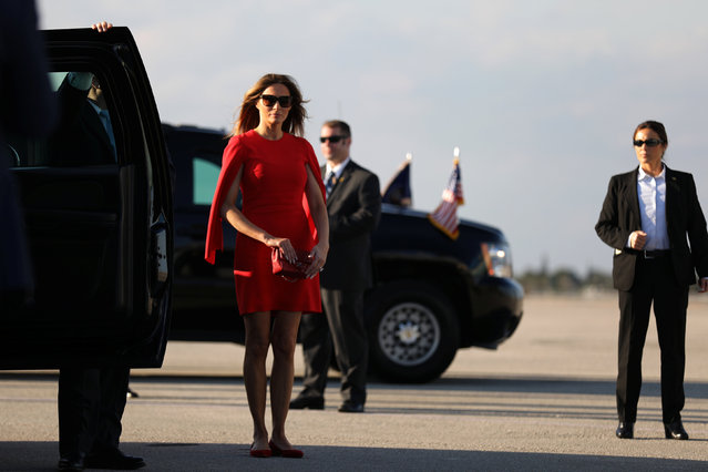 First Lady Melania Trump arrives to welcome U.S. President Donald Trump (not pictured) at West Palm Beach International airport in West Palm Beach, Florida, U.S., February 3, 2017. (Photo by Carlos Barria/Reuters)