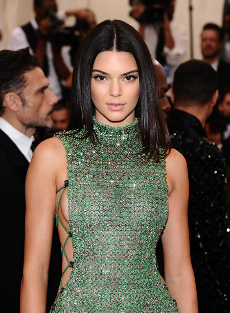 "Kendall Jenner arrives at The Metropolitan Museum of Art's Costume Institute benefit gala celebrating ""China: Through the Looking Glass"" on Monday, May 4, 2015, in New York. (Photo by Charles Sykes/Invision/AP Photo)"