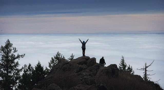 It might have been foggy in the Willamette Valley, but Cerridwen Martin was able to revel in a view of the top of the clouds from the summit of Spencer Butte in Eugene, Ore., on Tuesday, December 16, 2014. (Photo by Andy Nelson/AP Photo/The Register-Guard)
