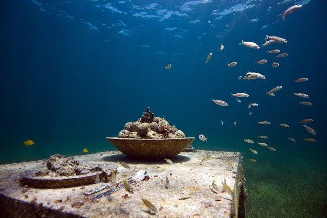 """The last supper"". Underwater Sculpture, Museo Subacuático de Arte, Cancun. (Photo by Jason deCaires Taylor/UnderwaterSculpture)"