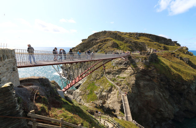 A view of the controversial new footbridge in Cornwall, England on August 12, 2019, reconnecting both halves of Tintagel Castle for the first time in 500 years. The site has long been rumoured to be the site of King Arthur's legendary Camelot. (Photo by Keith Mayhew/Sopa/Rex Features/Shutterstock)