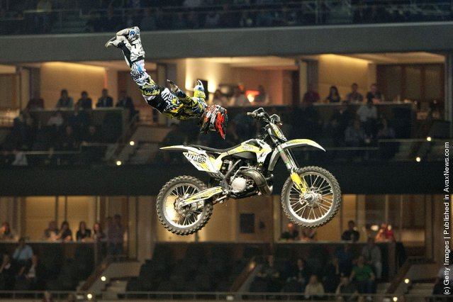 Maikel Melero races at the Night of the Jumps freestyle motocross acrobatics at O2 arena