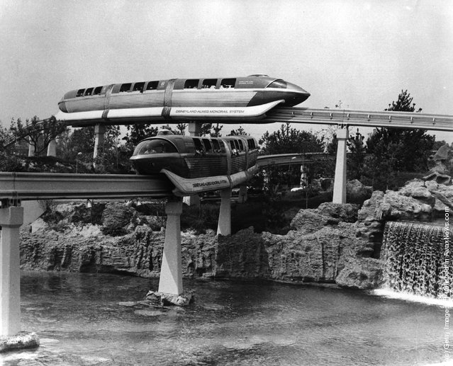 1960: Monorail rides at Disneyland, California