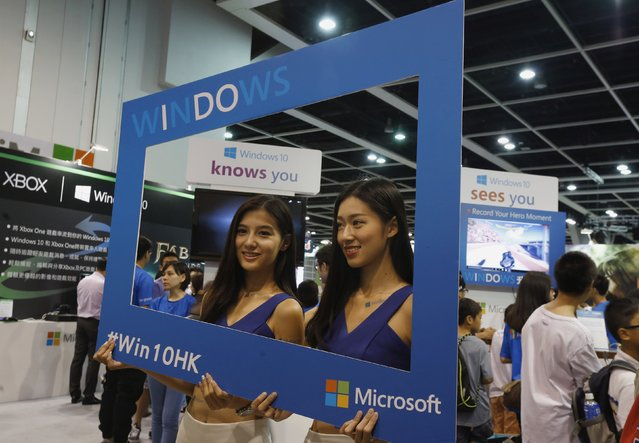 Promotional models pose at the Microsoft Windows 10 booth at Ani-Com & Games Hong Kong in Hong Kong, China July 27, 2015, two days before its global official launch. (Photo by Bobby Yip/Reuters)