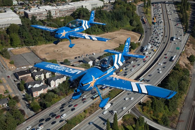 Air National Guard takes to the skies at Seafair 2015 on Thurs., July 30, 2015 in Seattle, Wash. (Photo by Matt Mills McKnight/AP Images for John Klatt Airshows, Inc.)