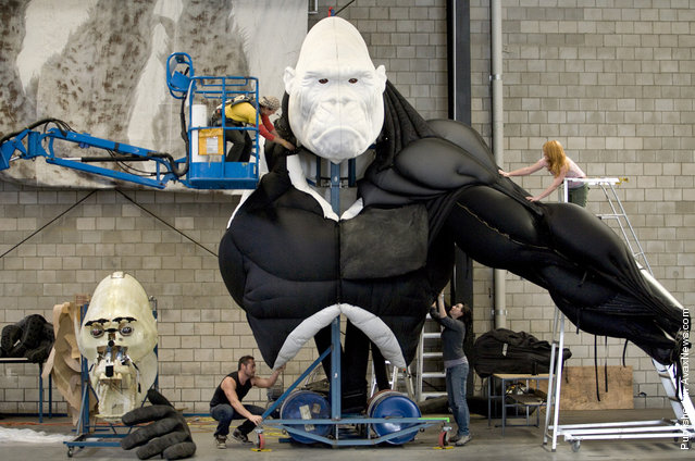 "Workers assemble a robotic King Kong creature in preparation for the show ""King Kong: Live on Stage"" at the Creature Theatre Company workshop in Melbourne, Australia"