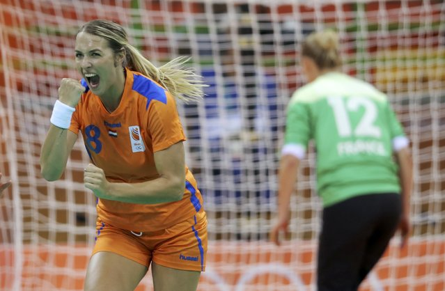 2016 Rio Olympics, Handball, Preliminary, Women's Preliminary Group B Netherlands vs France, Future Arena, Rio de Janeiro, Brazil on August 6, 2016. Lois Abbingh (NED) of Netherlands celebrates a goal. (Photo by Marko Djurica/Reuters)