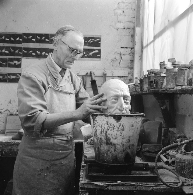 Wax caster, Alec Williams making a model of Ivan The Terrible's head at Gem's (Wax Models) Ltd, in the Portobello Road area of west London. 1st May 1965.  (Photo by Chris Ware/Keystone Features)