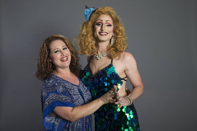 Drag Queen Yuval Shimron (R), who goes by the stage name Lolly Pott, and his sister Tal Lavi pose for a photo in a studio in Tel Aviv July 4, 2015. (Photo by Baz Ratner/Reuters)