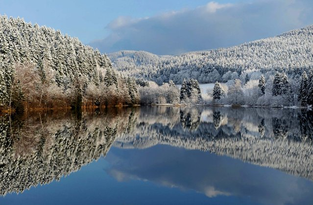 The snow-covered landscape is reflected in the lake near the northern German town of Sonnenberg on November 27, 2010. (Photo by Frank May/AFP Photo)