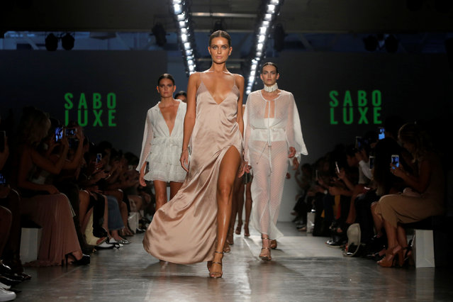Models present creations from the Sabo Luxe Spring/Summer 2017 collection during the Fashion Palette show at New York Fashion Week in Manhattan, New York, U.S., September 8, 2016. (Photo by Andrew Kelly/Reuters)