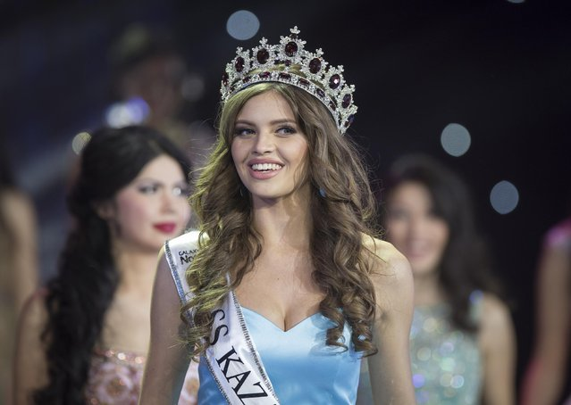 Regina Vandysheva reacts after winning the 2014 Miss Kazakhstan national beauty contest in Almaty November 28, 2014. (Photo by Shamil Zhumatov/Reuters)