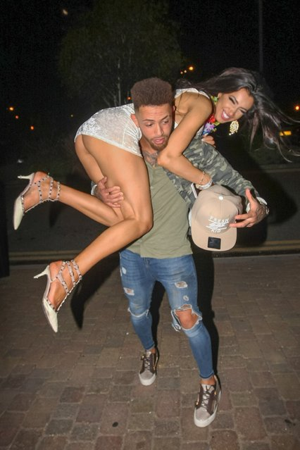 "UK ""Ex On The Beach"" star Ashley Cain celebrates his birthday with girlfriend and ex ""Big Brother"" star Chloe Khan at Gallery Nightclub in Maidstone, England, UK on September 25, 2016. (Photo by FameFlynet UK)"