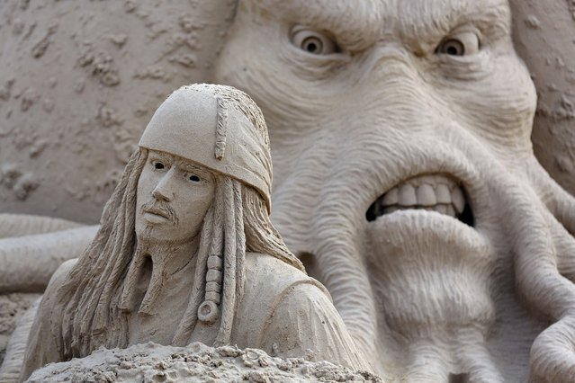 Detail of a sand sculpture of Pirates of the Caribbean  is seen as pieces are prepared as part of this year's Hollywood themed annual Weston-super-Mare Sand Sculpture festival on March 26, 2013 in Weston-Super-Mare, England. Due to open on Good Friday, currently twenty award winning sand sculptors from across the globe are working to create sand sculptures including Harry Potter, Marilyn Monroe and characters from the Star Wars films as part of the town's very own movie themed festival on the beach.  (Photo by Matt Cardy)