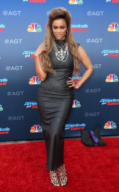 """Tyra Banks arrives at the """"America's Got Talent"""" Season 13 Kick-Off at the Pasadena Civic Auditorium on Monday, March 12, 2018, in Pasadena, Calif. (Photo by Willy Sanjuan/Invision/AP Photo)"""