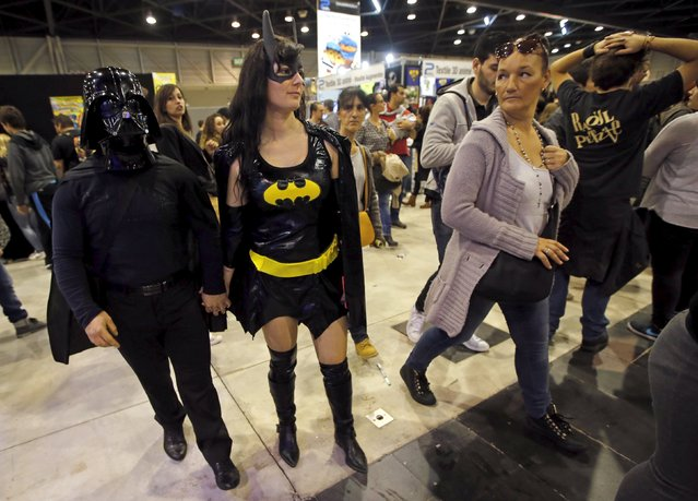 Participants wearing costumes attend the second edition of the Hero Festival in Marseille, France November 7, 2015. (Photo by Jean-Paul Pelissier/Reuters)