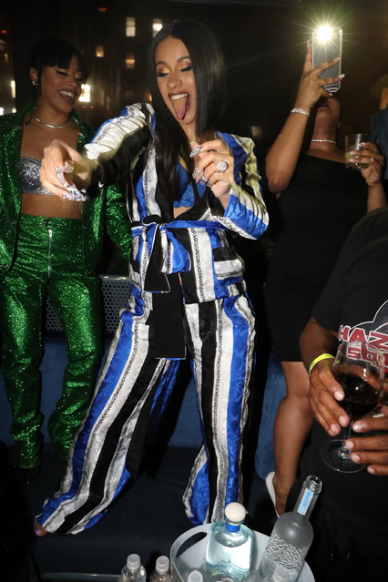 """Cardi B attends the CARDI B """"Gold Album"""" Release Party at Moxy Hotel on April 10, 2018 in New York City. (Photo by Johnny Nunez/WireImage)"""
