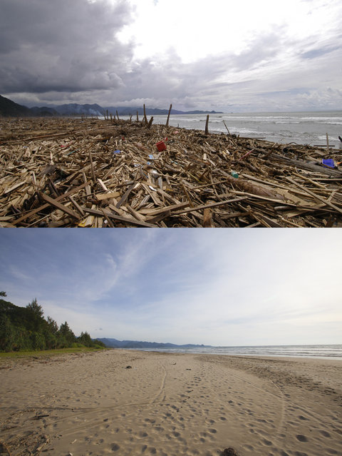 TOP IMAGE: A completely devastated village after the Tsunami in Lhok Sadey, 150 miles from southern Asia's massive earthquake's epicenter on Tuesday January 8, 2005 in Aceh, Indonesia. BOTTOM IMAG: A mostly unused beach prior to the ten year anniversary of the 2004 earthquake and tsunami on December 14, 2014 in Aceh, Indonesia. (Photo by Stephen Boitano/Barcroft Media)