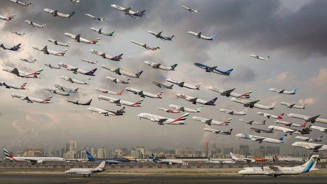 A composite of Dubai Airport take-offs. (Photo by Mike Kelley/SWINS)
