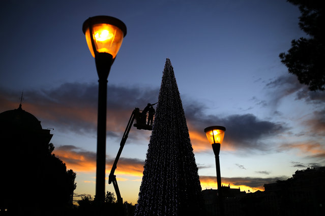 Workers decorate a Christmas tree with lights ahead of seasonal celebrations at the Colon square in Madrid, Tuesday, December 1, 2015. (Photo by Francisco Seco/AP Photo)
