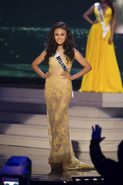 Sharr Htut Eaindra, Miss Myanmar 2014 competes on stage in her evening gown during the Miss Universe Preliminary Show in Miami, Florida in this January 21, 2015 handout photo. (Photo by Reuters/Miss Universe Organization)
