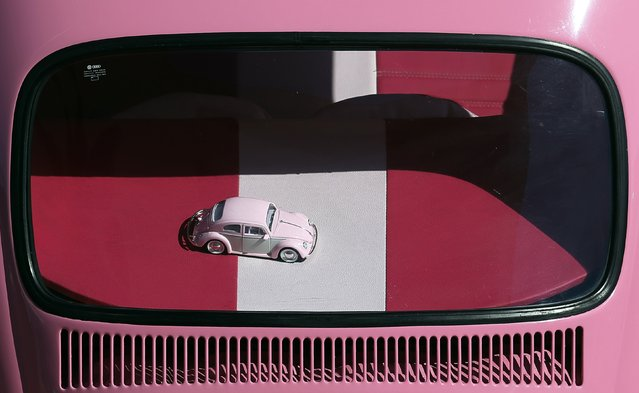A miniature model of a Volkswagen beetle is pictured inside a car during a Volkswagen Beetle owners' meeting in Sao Bernardo do Campo January 25, 2015. (Photo by Paulo Whitaker/Reuters)