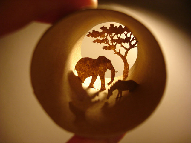 Toilet paper roll art of African wildlife. (Photo by Anastassia Elias/Caters News)