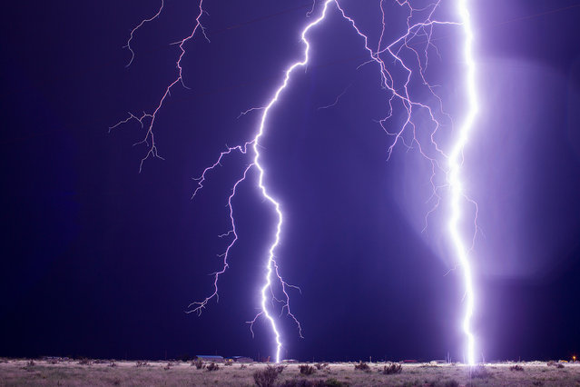 These dangerous lightning strike happening only a quarter mile away from Mike on July 10, 2015 in New Mexico, United States. (Photo by Mike Olbinski/Barcroft Media)