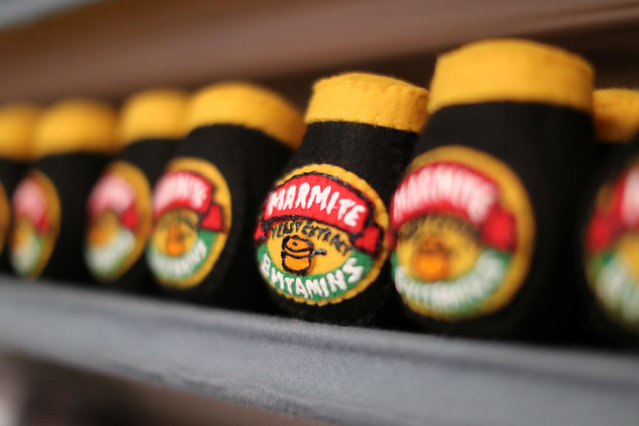 Marmite made from felt in a art installation supermarket in which everything is made of felt, in Los Angeles, California on July 31, 2018. (Photo by Lucy Nicholson/Reuters)