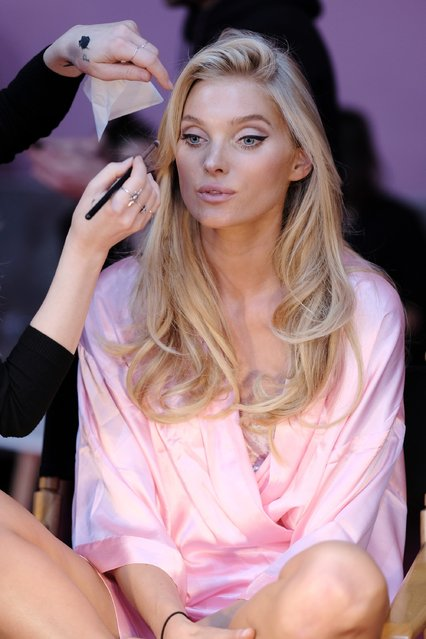 Elsa Hosk has her Hair & Makeup done prior the 2016 Victoria's Secret Fashion Show on November 30, 2016 in Paris, France. (Photo by Dimitrios Kambouris/Getty Images for Victoria's Secret)