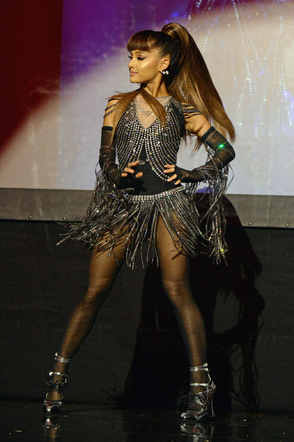 Ariana Grande performs onstage during An Evening of Music, Art, Mischief and Performance to benefit Raising Malawi presented by Madonna at Faena Forum on December 2, 2016 in Miami Beach, Florida. (Photo by Kevin Mazur/Getty Images for Bulgari)