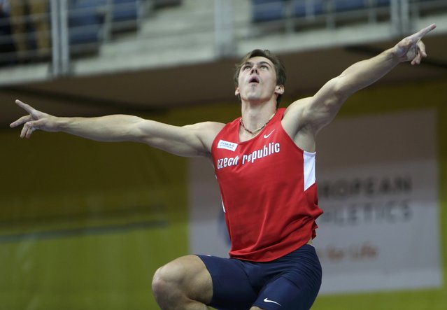 Adam Helcelet of the Czech Republic reacts after competing in the men's heptathlon pole vault event during the European Indoor Championships in Prague March 8, 2015. REUTERS/David W Cerny (CZECH REPUBLIC  - Tags: SPORT ATHLETICS)