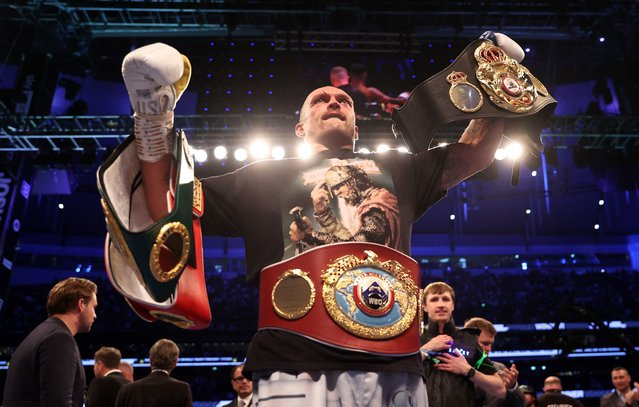 Oleksandr Usyk celebrates after being crowned the new World Champion following the Heavyweight Title Fight between Anthony Joshua and Oleksandr Usyk at Tottenham Hotspur Stadium on September 25, 2021 in London, England. (Photo by Julian Finney/Getty Images)