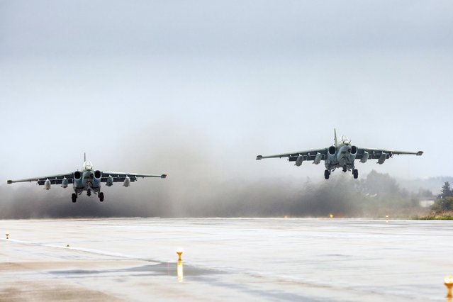 Russian Sukhoi Su-25 fighter jets take off as part of the withdrawal of Russian troops from Syria at Hmeymim airbase, Syria, March 16, 2016. (Photo by Vadim Grishankin/Reuters/Russian Ministry of Defence)