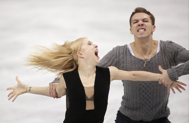 Ekaterina Bobrova and Dmitri Soloviev of Russia compete in the ice dance free dance figure skating finals at the Iceberg Skating Palace during the 2014 Winter Olympics, Monday, February 17, 2014, in Sochi, Russia. (Photo by Bernat Armangue/AP Photo)