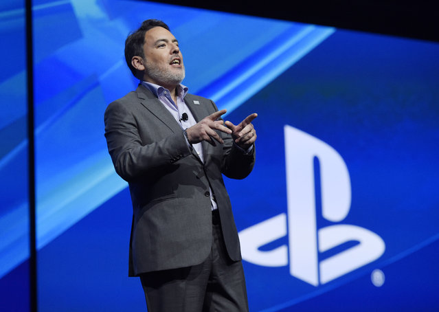 Shawn Layden, president and CEO of Sony Computer Entertainment America, addresses the audience during the Sony Playstation at E3 2015 news conference at the Los Angeles Sports Arena on Monday, June 15, 2015, in Los Angeles. (Photo by Chris Pizzello/Invision/AP)