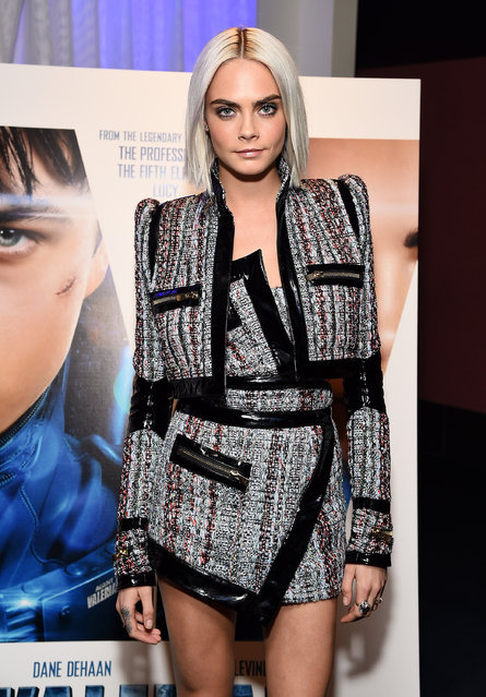 """Actress Cara Delevingne attends the trailer viewing of """"Valerian and The City of a Thousand Planets"""" on March 27, 2017 in Los Angeles, California. (Photo by Michael Kovac/WireImage)"""