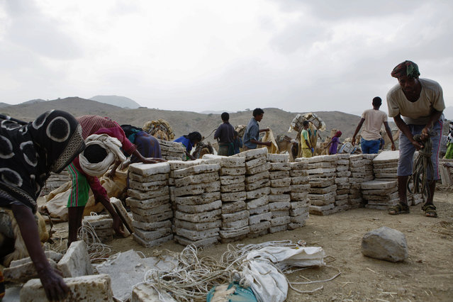 People unload and store salt brought into Berhale town in the Afar region on camel caravan from the Danakil Depression in the northern reaches of the Afar region near the Eritrean boarder in Ethiopia on 27 March 2017. (Photo by Zacharias Abubeker/AFP Photo)