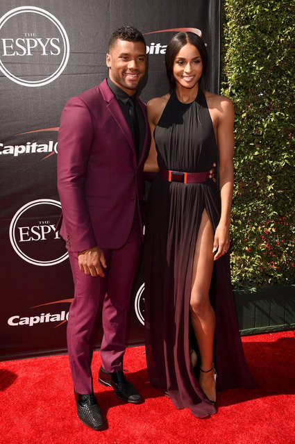(L-R) NFL player Russell Wilson with musician Ciara and attends The 2015 ESPYS at Microsoft Theater on July 15, 2015 in Los Angeles, California. (Photo by Jason Merritt/Getty Images)
