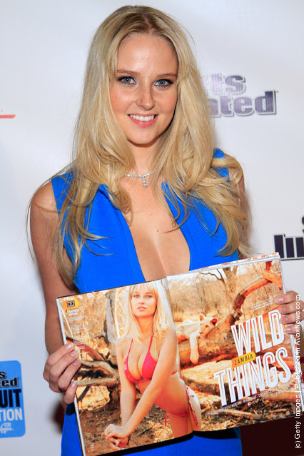 SI swimsuit model Genevieve Morton arrives at SI Swimsuit On Location hosted by Haze Nightclub at the Aria Resort & Casino at CityCenter