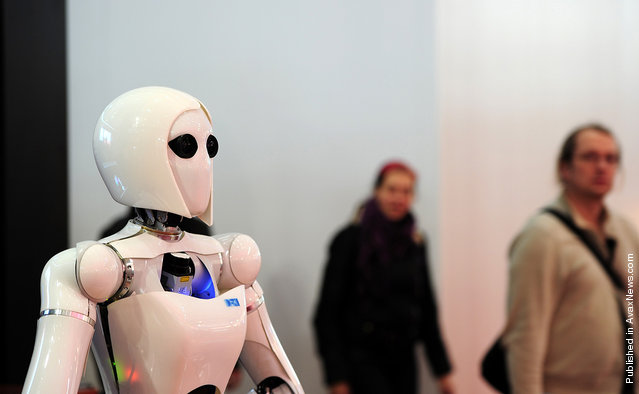 The robot AILA (Artificial Intelligence Lightweight Android) is featured at the CeBIT IT fair on March 3, 2011, in Hanover, Germany