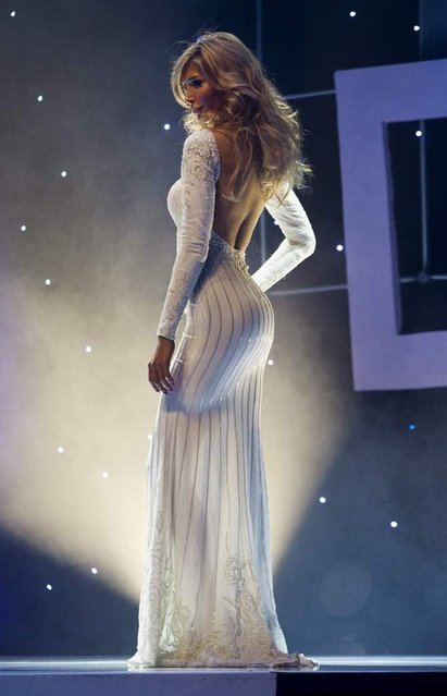 Model Jenna Talackova, the first transgender Miss Universe contestant, is seen on stage during the preliminary round of the Miss Universe Canada beauty pageant contest in Toronto on May 18, 2012