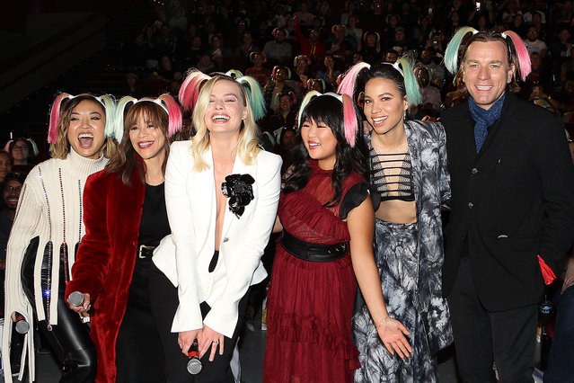 "Warner Bros. Pictures presents the ""BIRDS OF PREY"" fan experience and screening in New York on February 4, 2020. Pictured: Cathy Yan, Rosie Perez, Margot Robbie, Ella Jay Basco, Jurnee Smollett-Bell, Ewan McGregor. (Photo by Dave Allocca/StarPix)"