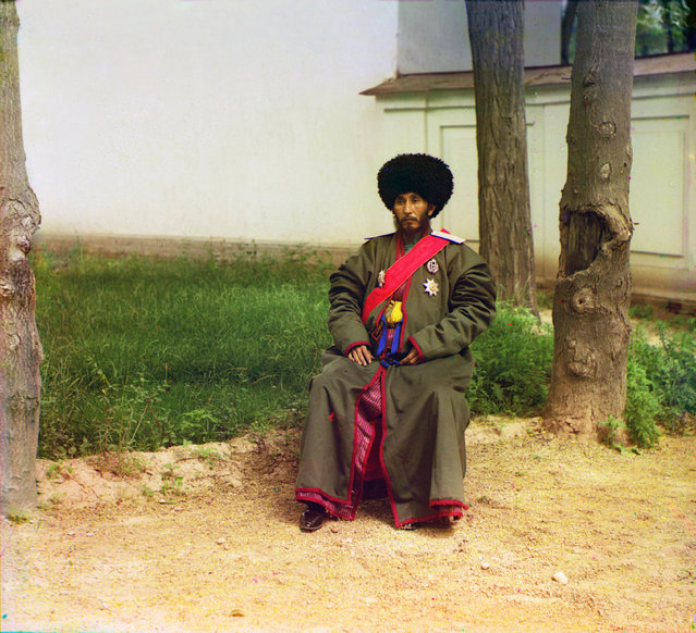 Photos by Sergey Prokudin-Gorsky. His Highness Isfandiyar, Khan of the Russian protectorate of Khorezm (Khiva), full-length portrait, seated outdoors, 1911