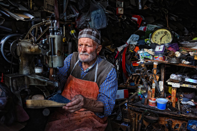 CGAP Photo Contest – Europe and Central Asia Regional Winner: Shoe Repair Shop, Turkey. This man is 84 years old and still manages a shoe repair shop which affords him a decent income. (Photo by Bulent Suberk)
