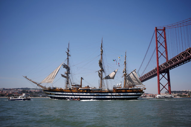 The Italian ship Amerigo Vespucci is pictured during the Tall Ships Races 2016 parade, in Lisbon, Portugal, July 25, 2016. (Photo by Pedro Nunes/Reuters)